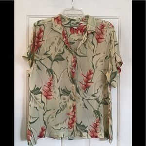 LADIES' TOMMY BAHAMA BUTTON DOWN SILK SHIRT